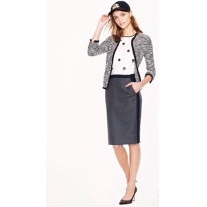 J Crew No. 2 pencil skirt tipped double-serge wool